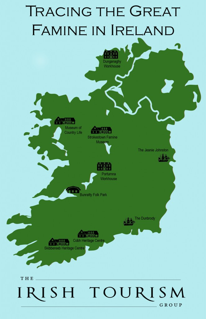 Potato famine in Ireland Map, Places to Visit