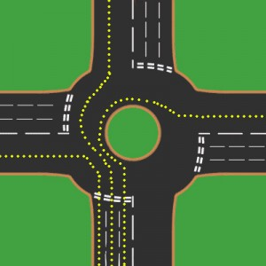 Roundabout with lines