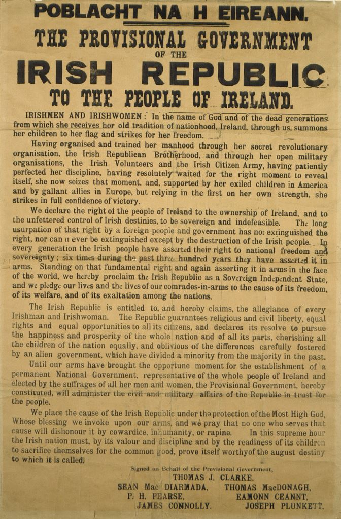 the irish easter rising of 1916 essay A full-page photograph of eamon de valera, veteran of the 1916 easter rising and subsequently president of the irish republic, faces the frontispiece, and he commends macardle's account in a.