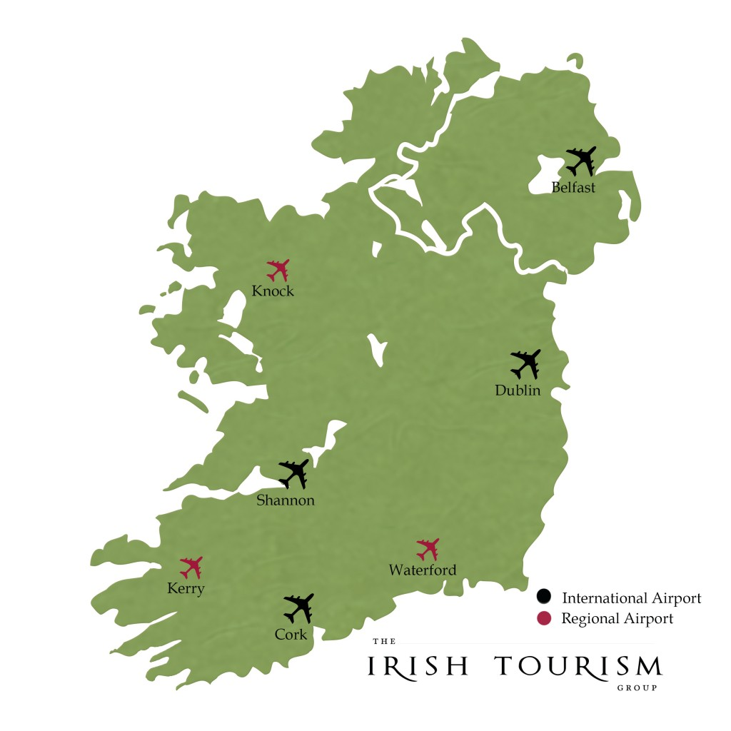 Map Of Ireland Kerry Region.Airports In Ireland Experience Ireland