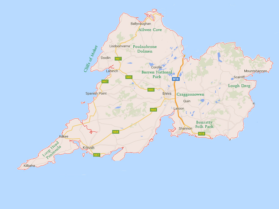 Places to Visit in County Clare Map