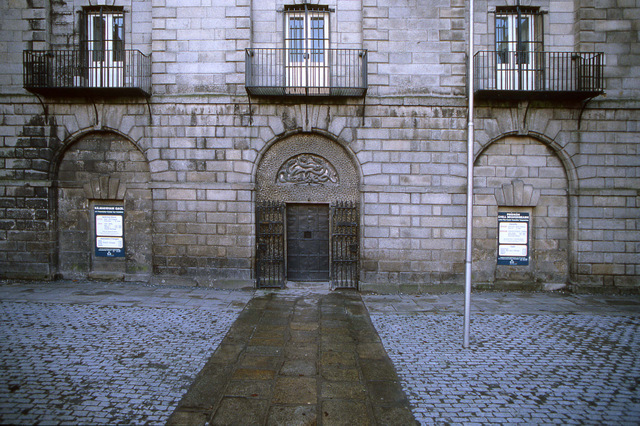 Things to do in Dublin -Kilmainham Gaol exterior - door and flag pole