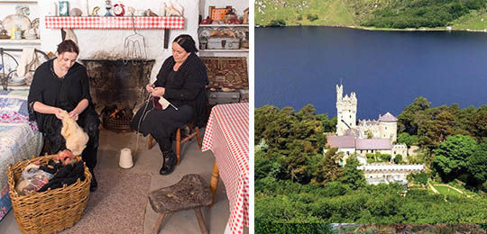 Knitting at Glencolmcille Folk Village left & Glenveagh Castle right (Both featured on Northwest Retreat)