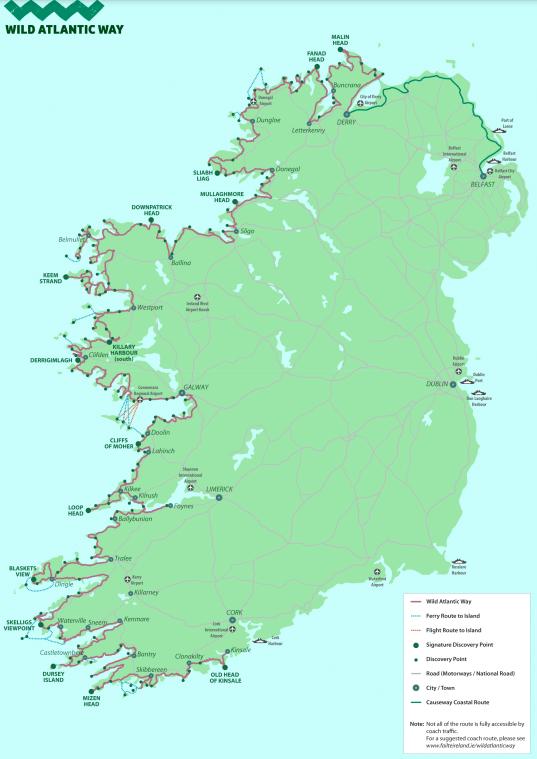 Wild Atlantic Way Map, Wild Atlantic Way Route